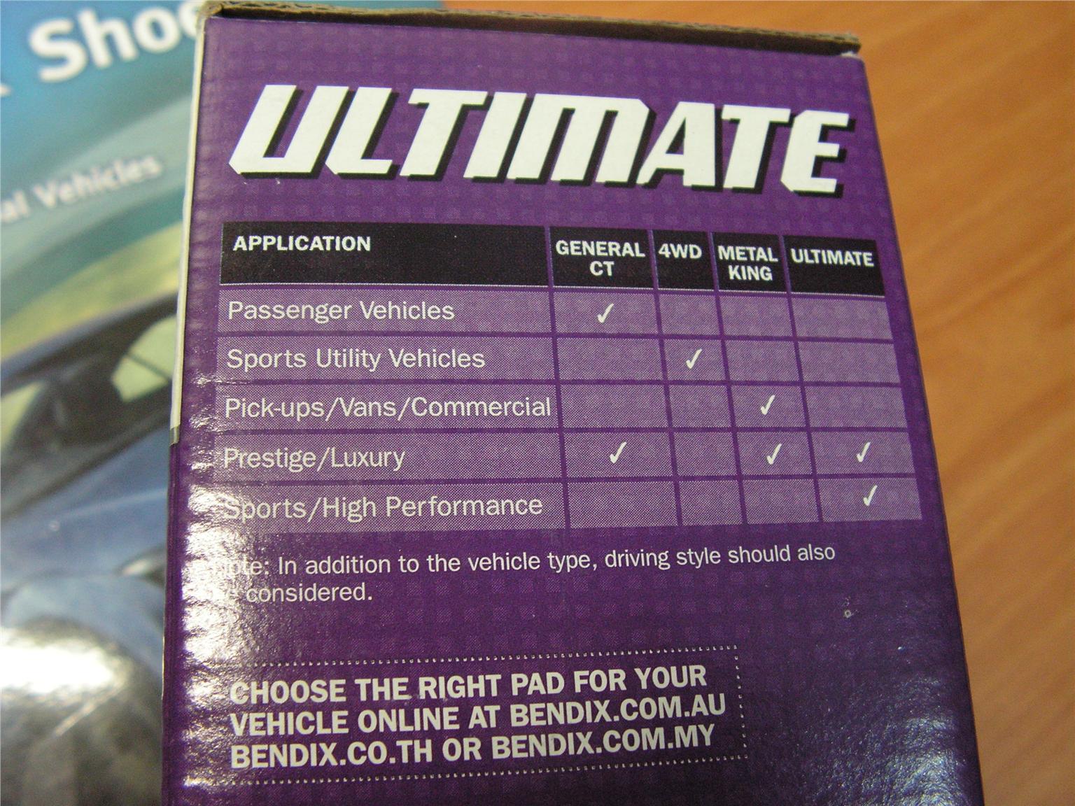 BENDIX ULTIMATE BRAKE PAD for BREMBO 4 POT (WRX STi, EVO 5,6,7,8,9,X)