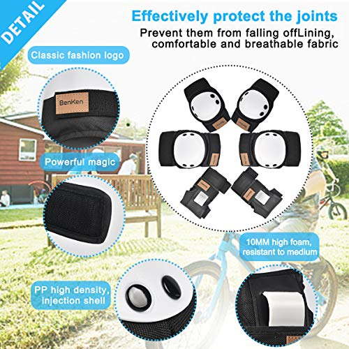 BenKen 6 in 1 Protective Gear Set Skateboard Elbow Pads Knee Pads with Wrist G