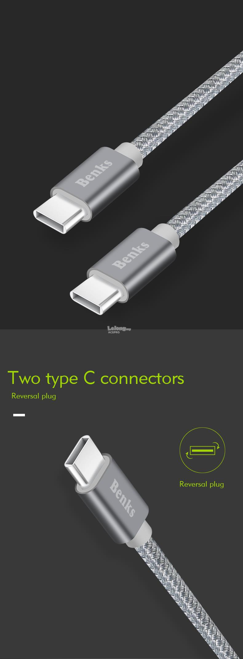 BENKS Type C to Type C 3.0 3A Fast Charging USB Cable