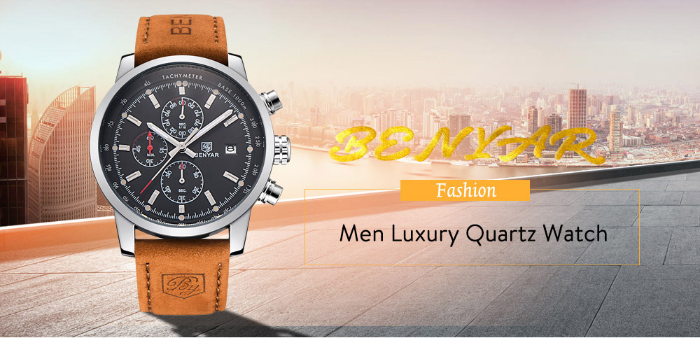 Benyar Fashion Chronograph Sport Mens Top Brand Luxury Quartz Watch - ..