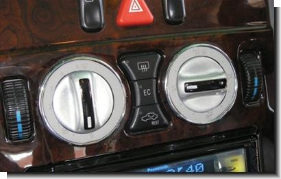 Benz W124 / W126 / W202 Air-Cond Switch Cover + Chrome Rim White Face