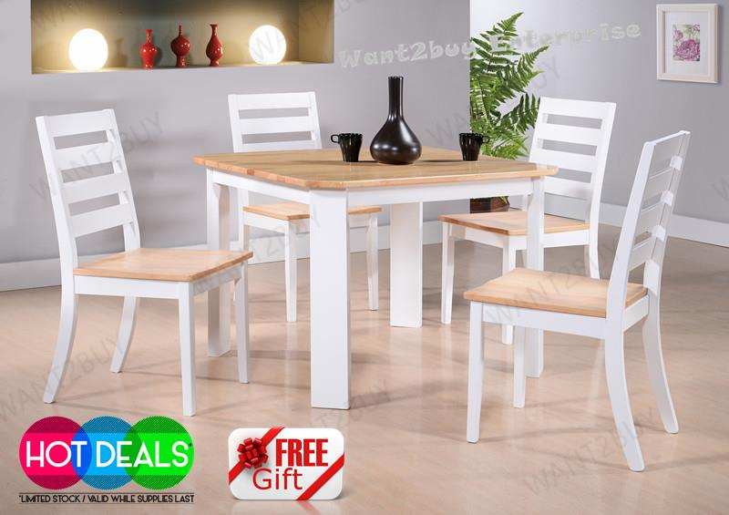 BERLIN 4 Chair + 1 Square Solid Wood Dining Table Chair Set Meja Makan