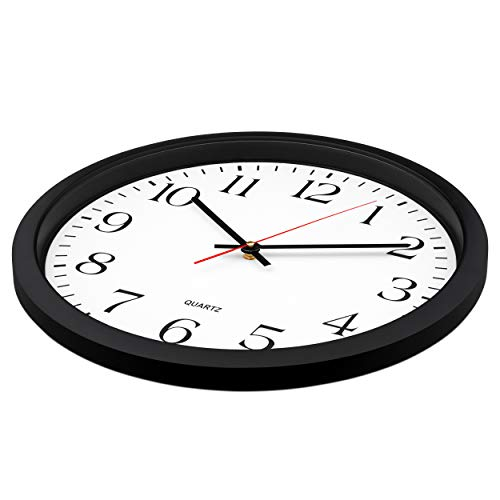 ..// Bernhard Products Black Wall Clock, Silent Non Ticking - 16 Inch Extra La