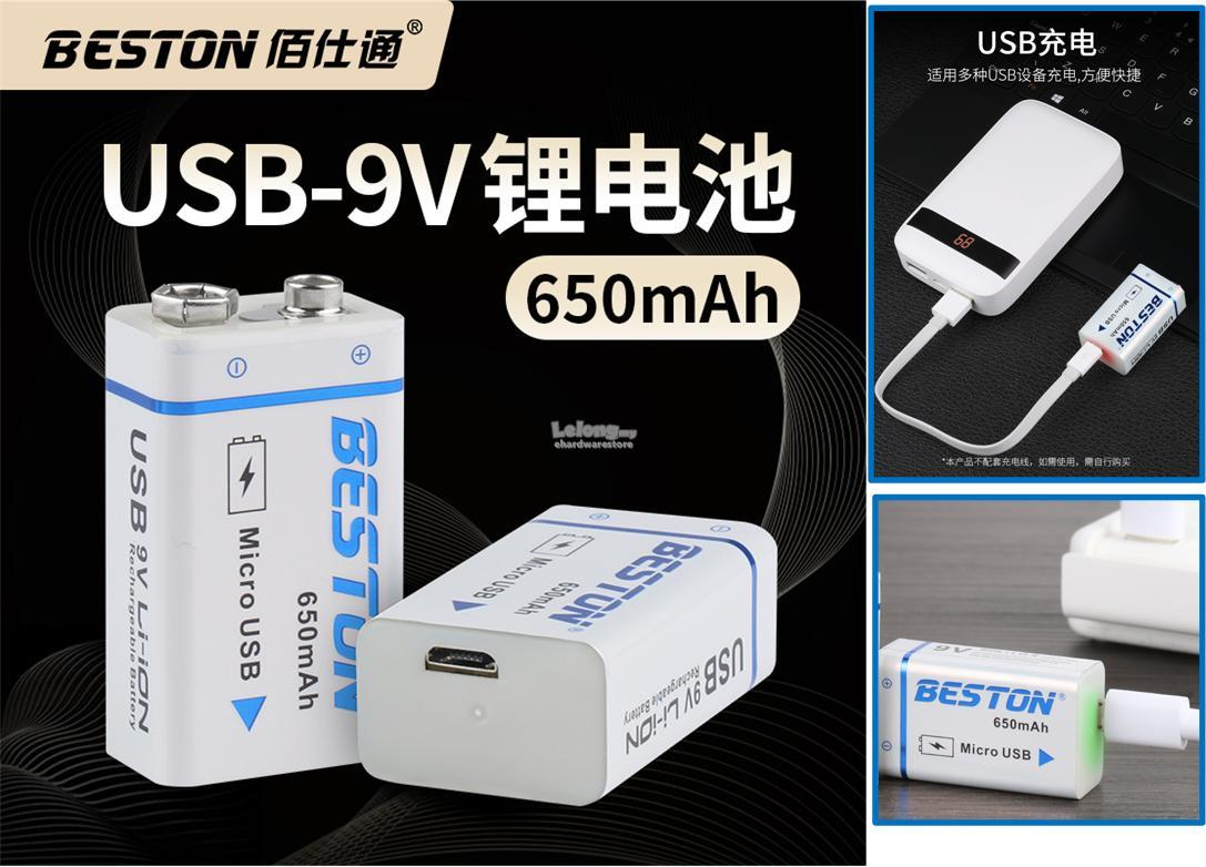 BESTON 9V Rechargeable Lithium ion Battery 650mAh Micro USB Charging