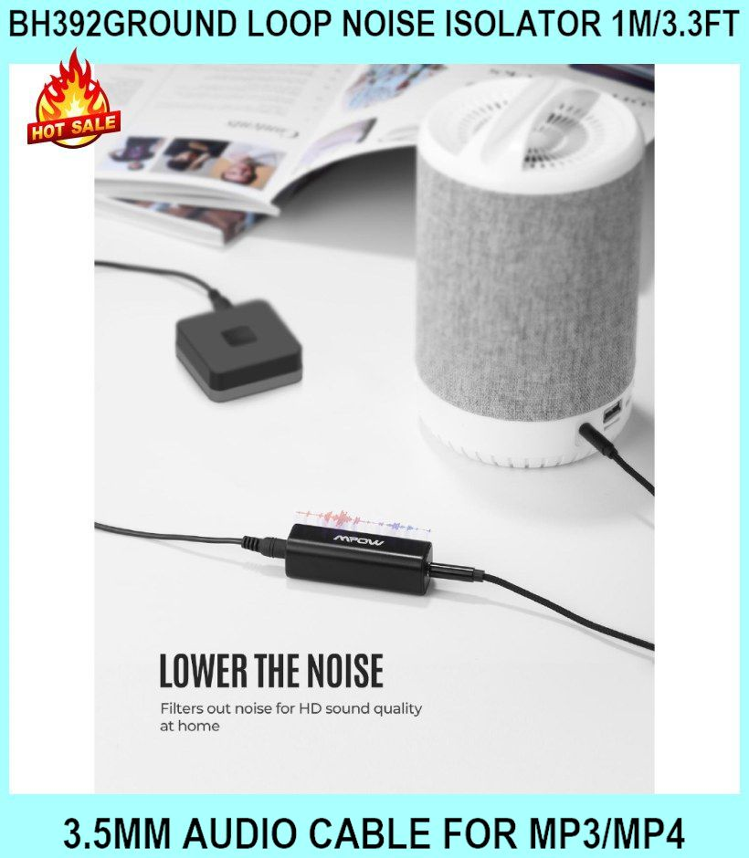 Bh392ground Loop Noise Isolator 1m/3.3ft 3.5mm Audio Cable For Mp3/mp4