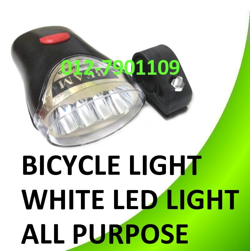 BICYCLE BIKE WHITE LED HEAD LIGHT ALL PURPOSE BIKE WARNING LIGHT