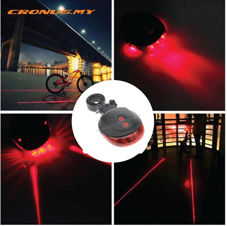 BICYCLE REAR LIGHT 5 LED + 2 LASER BEAM 3 colors 1399195-BCS