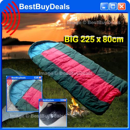 BIG 225 x 80cm Sleeping Bag Outdoor Sports Camping Hiking