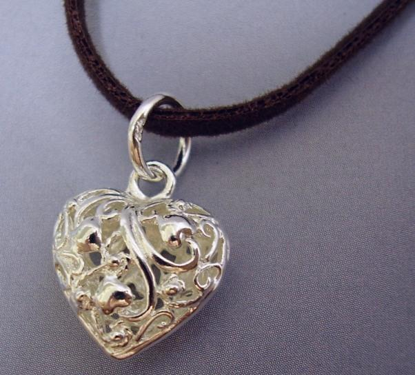 Big 925 Sterling Silver Pendant Crafted Puffy Heart Love Lace Motif
