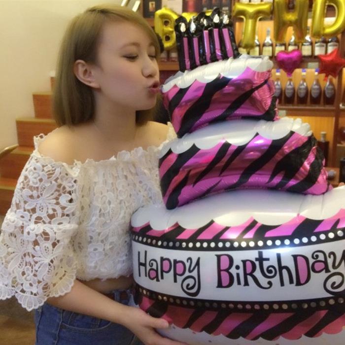 Big Happy Birthday Cake Balloons Aluminium Foil Balloon Decor