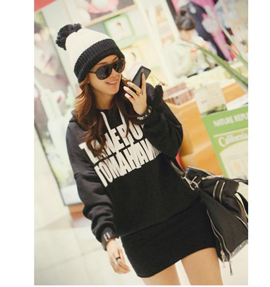 Big Hoodie Sweater - Black - B6648