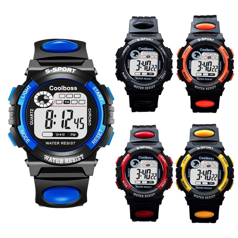 Big Number Kids Children LED Digital Multi Function Rainbow Light Watch