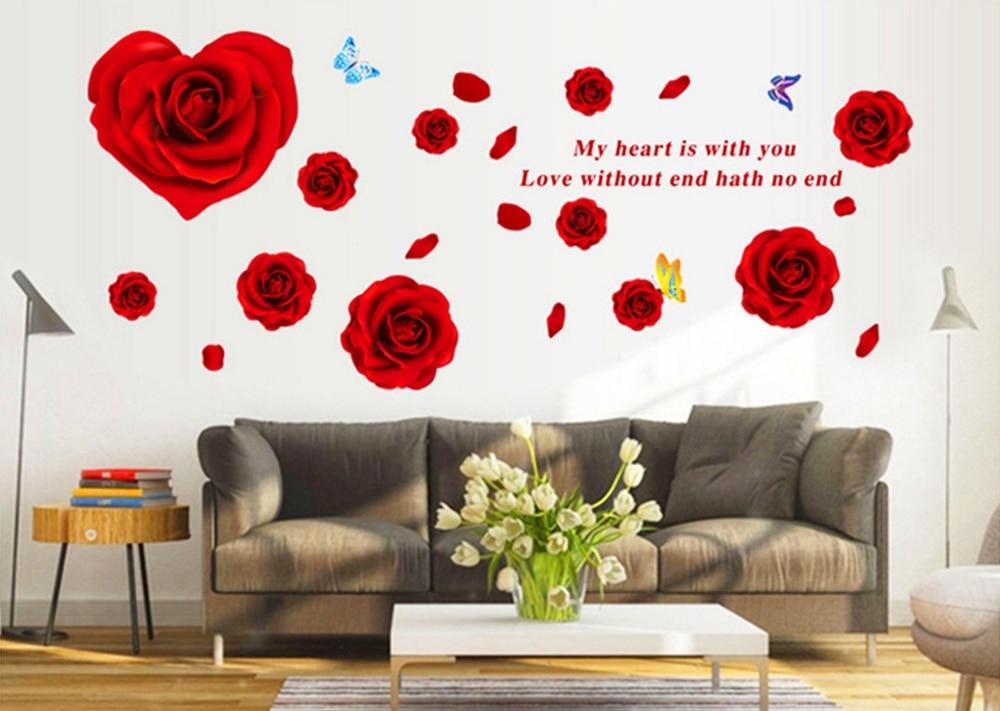 3876eb91da4 Big Red Rose Flowers 3d Wall Stickers Home Decor Sticker Flower Remova. ‹ ›