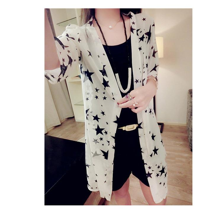 New~Big Small Star Thin Type Jacket (White)