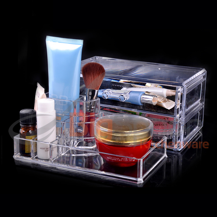 BIGSPOON 2-Drawer Mini Cosmetic Organiser Makeup Organizer Drawer