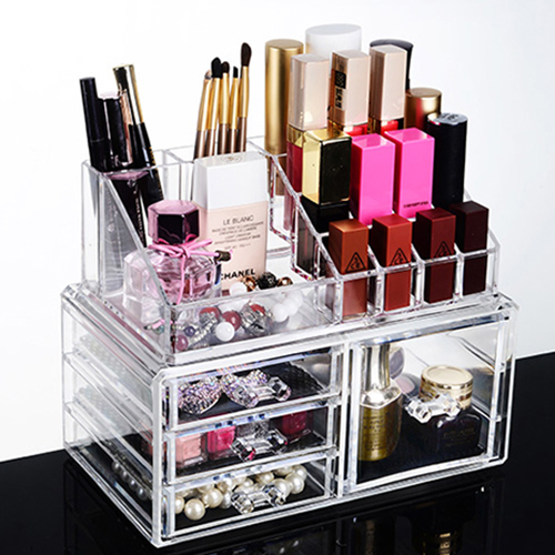 BIGSPOON 3 Small +1 Large Drawer Clear Acrylic Cosmetic Rack Organizer
