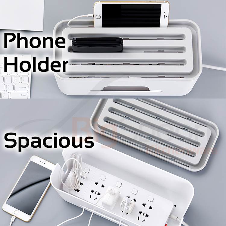 BIGSPOON Cable Organizer Box Cable Management Box Storage Phone Holder