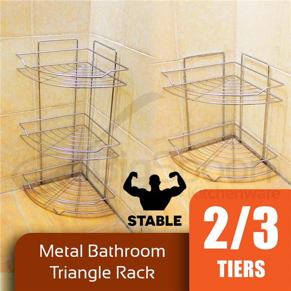 BIGSPOON Chrome Bathroom Corner Triangle Standing Rack Wall 2/3-Tier