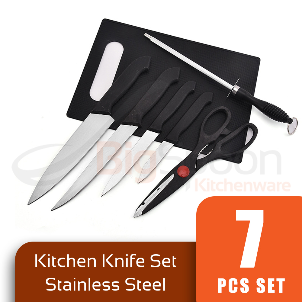 BIGSPOON CK00110 7-PCS Stainless Steel Kitchen Knife Set Chop Board