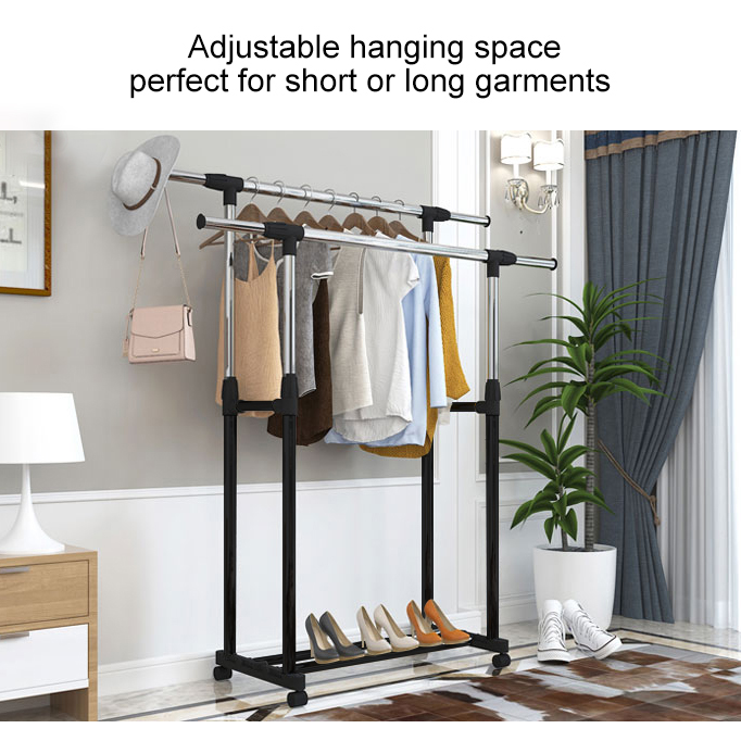 BIGSPOON Double Pole Garment Rack Adjustable Clothes Hanger (Black)