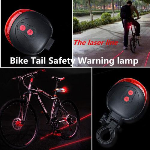 Bike Bicycle Safety Laser Rear Led Tail Light Parallel Line 7 Mode