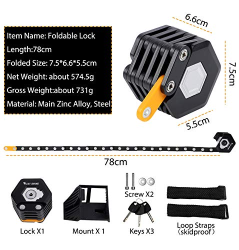 Bike Chain Locks with 3 Keys, Heavy Duty Anti Theft Foldable Bicycle Lock with