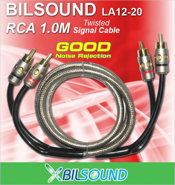 BIL-SOUND LA12-20 1 Meter Twisted Signal RCA Cable Made In Germany