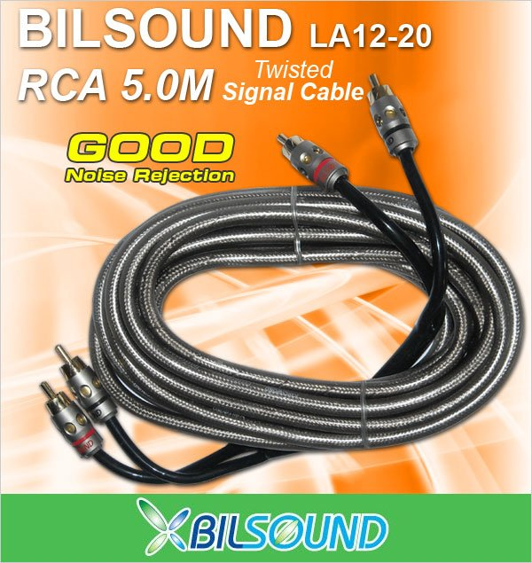BILSOUND LA12-20 5 Meter Twisted Signal RCA Cable Made In Germany