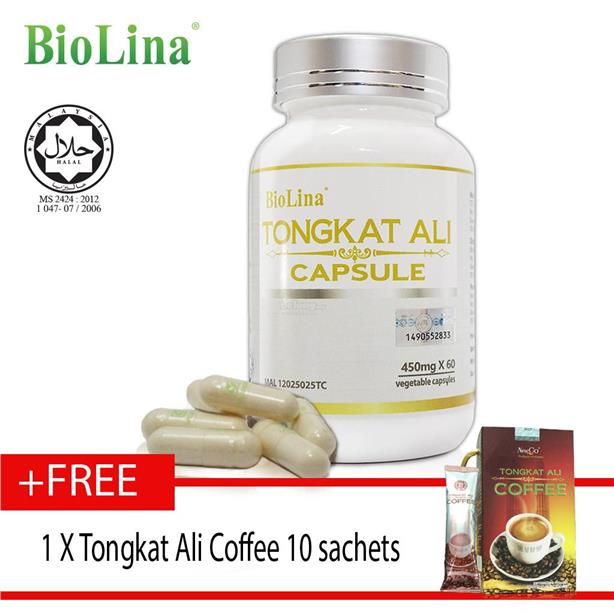 Biolina Tongkat Ali Capsule 60's x450mg + tongkat ali coffee 东&