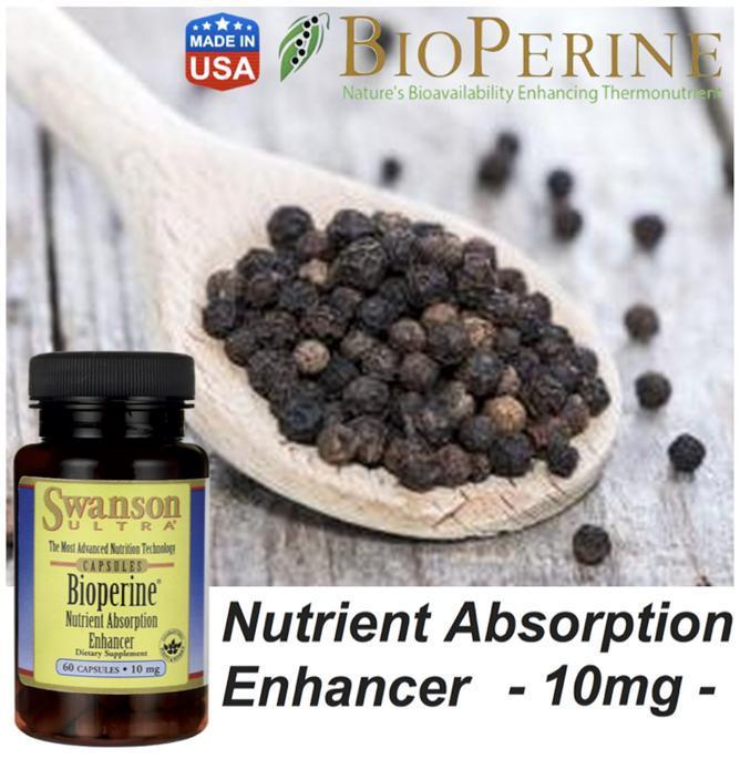 Bioperine 10mg, Vitamin & Supplement Enhancer (Made in USA)
