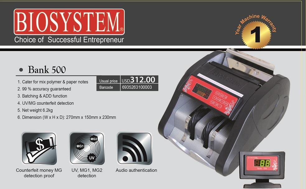 BIOSYSTEM BANK 500 BANK USE NOTES COUNTER MACHINERY