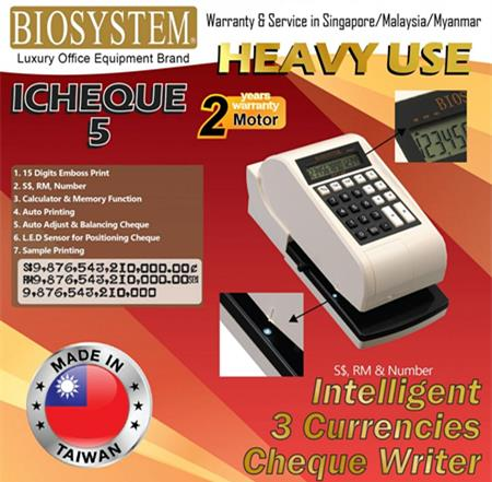 Biosystem iCheque 5 3 Currencies Sheque Writer