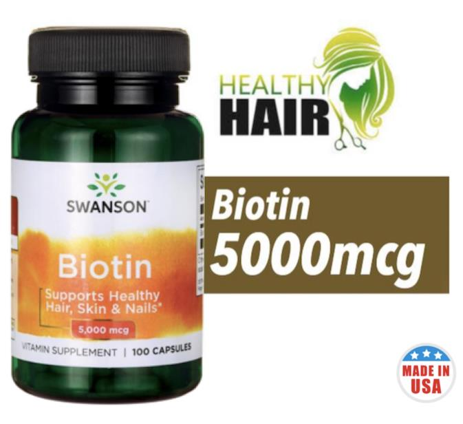 Biotin 5mg, 5000mcg, 100 Caps (Hairloss, Botak) Made In USA