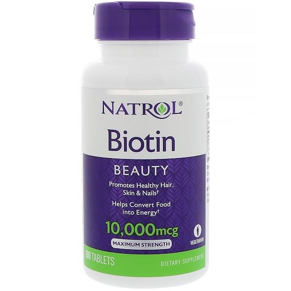 Biotin, Maximum Strength, Supplements 10,000 mcg (100 Tablets)
