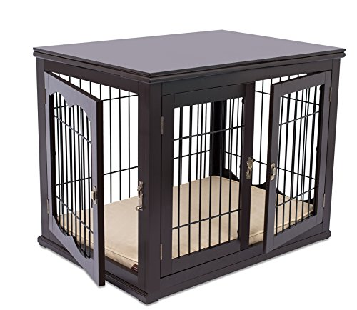 BIRDROCK HOME Decorative Dog Kennel with Pet Bed - Small Dog - Espresso - Doub