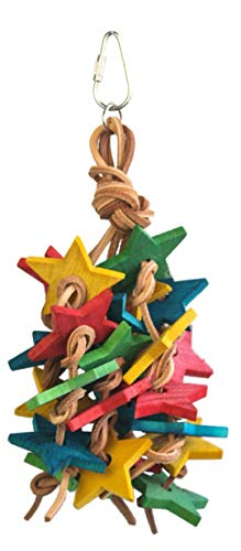 Birds LOVE Wood Stars and Leather Toy for Bird Cage Stand or Playgym, Medium P