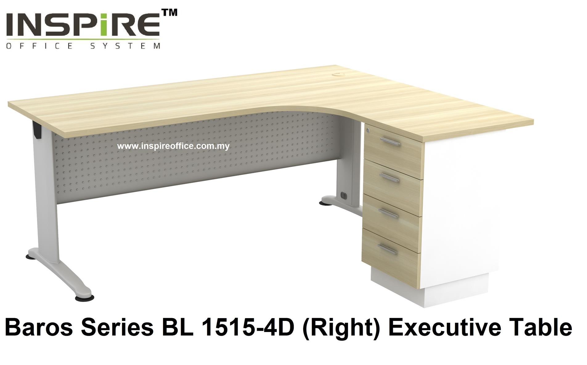 BL-1515-4D BAROS SERIES METAL J LEG EXECUTIVE L SHAPED TABLE