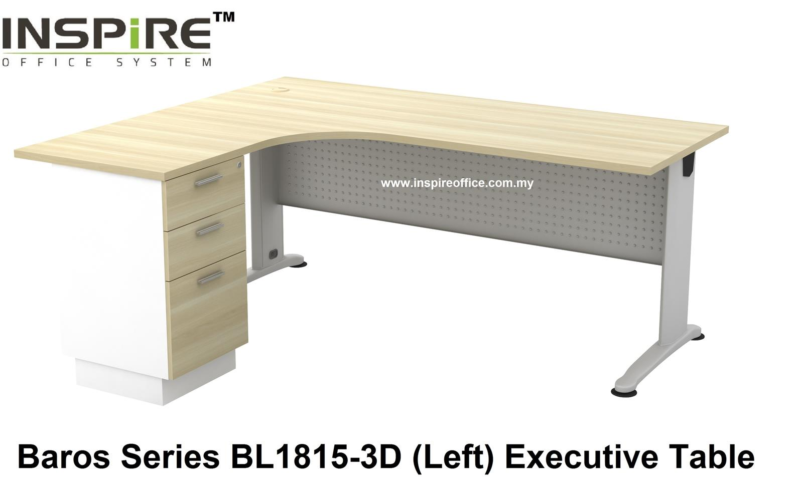 BL-1815-3D BAROS SERIES METAL J LEG EXECUTIVE L SHAPED TABLE