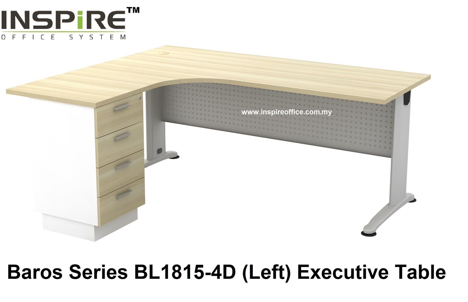 BL-1815-4D BAROS SERIES METAL J LEG EXECUTIVE L SHAPED TABLE