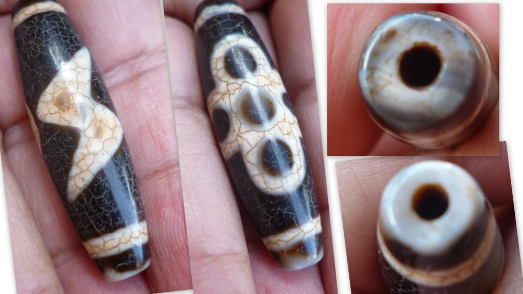 black agate 5 eye lightning bolt dzi