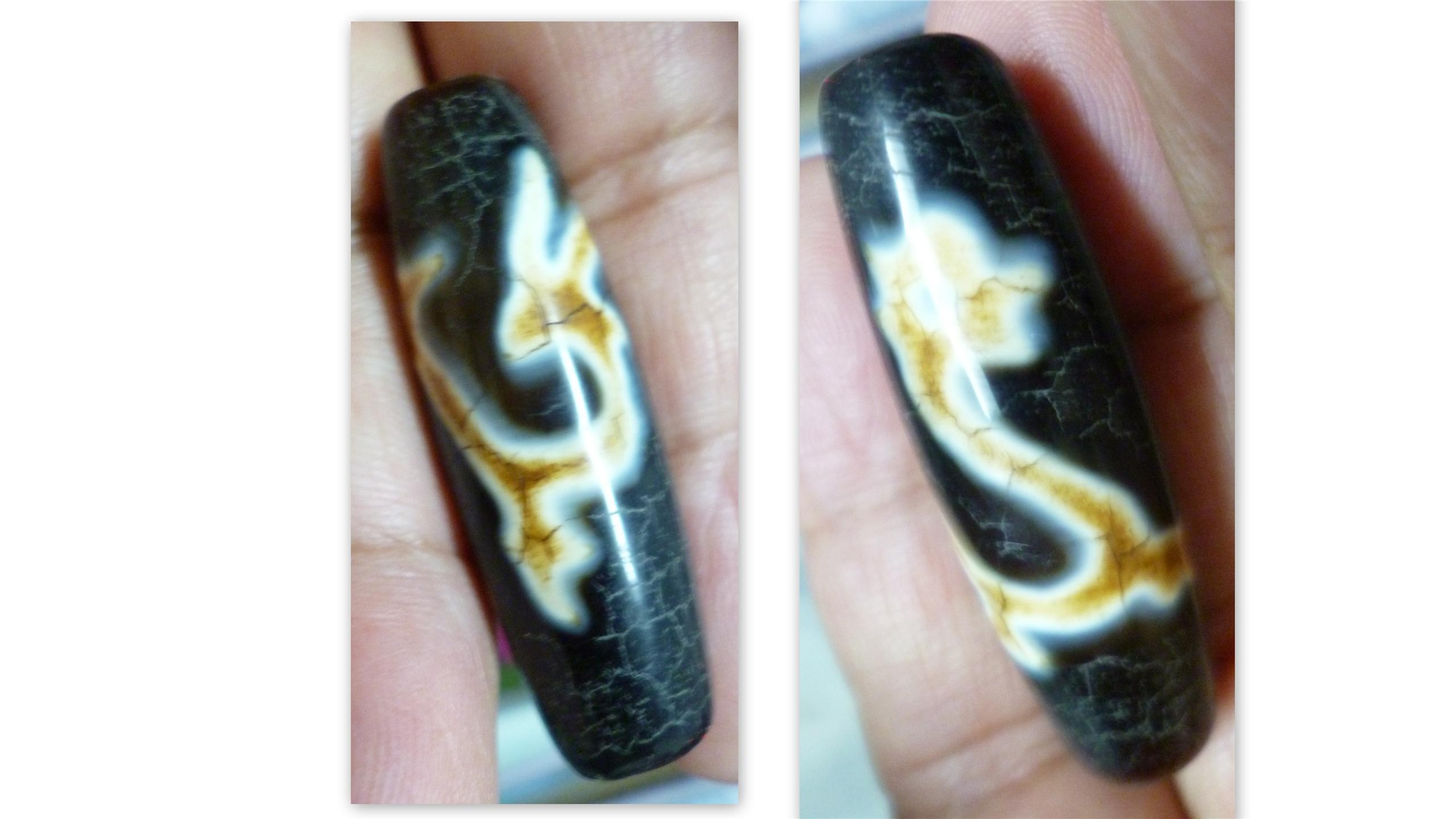 OLD BLACK AGATE RARE DRAGON TIBETAN DZI