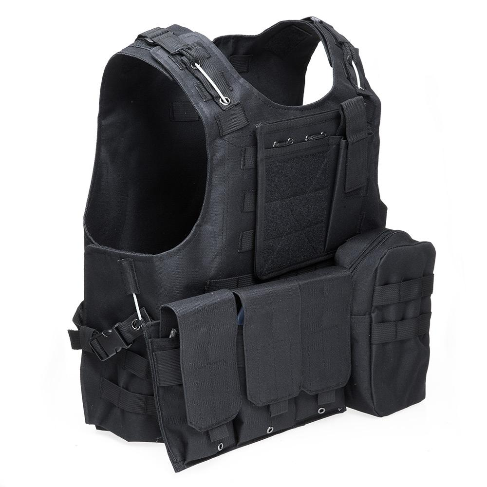 BLACK Amphibious Tactical Military Molle Waistcoat Combat Assault Plat..