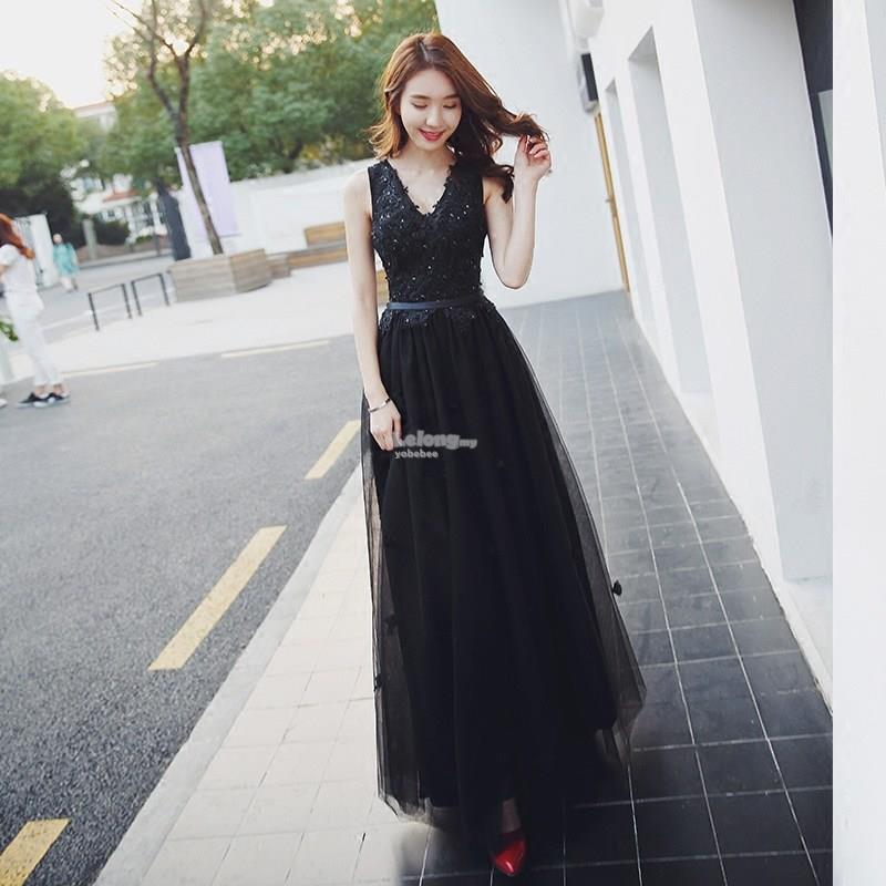 Black Beaded Lace Evening Gown (end 2/22/2019 4:15 PM)