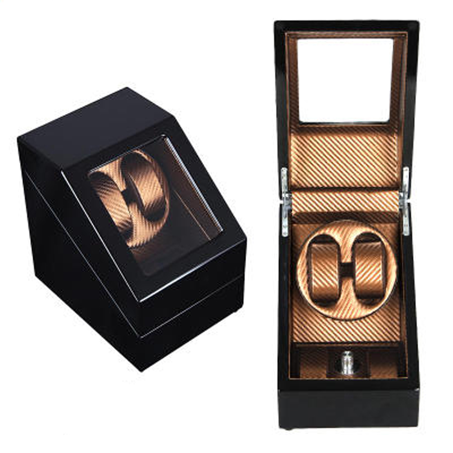 Black Brown Luxury Carbon Fiber Wooden Automatic Double Watch Winder W..