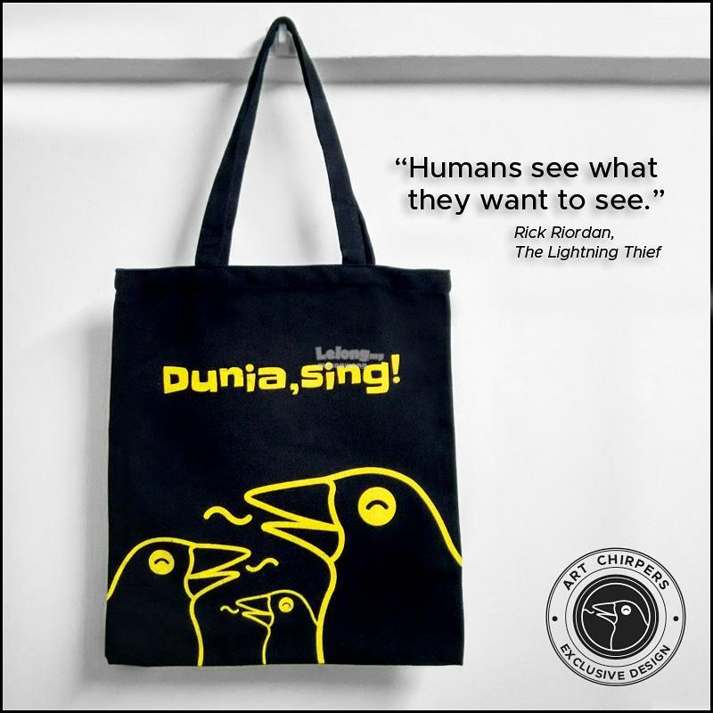 Black Canvas Tote Bag with Creative Print