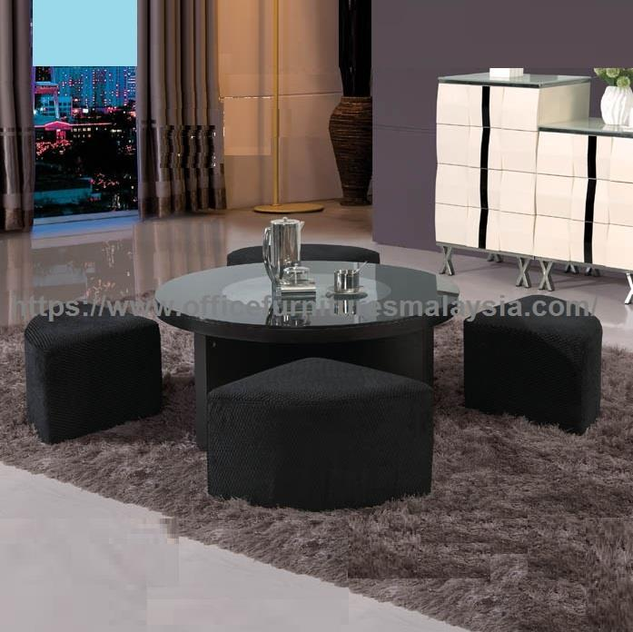 Black Round Coffee Table With Seating Underneath Ygt 9513b Kajang Kl
