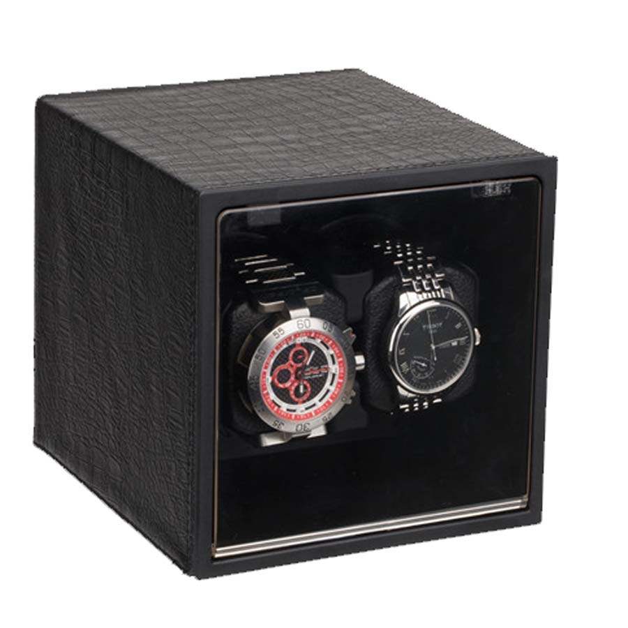 Black Crocodile Grain Luxury  Wooden Automatic Double Watch Winder
