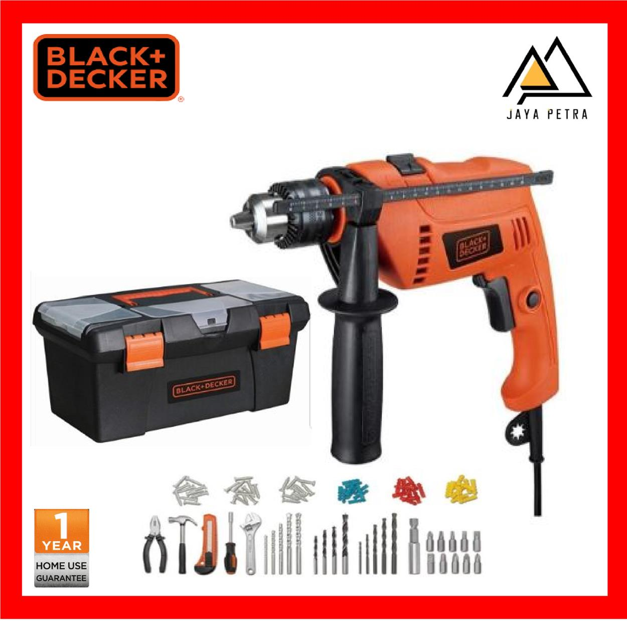 Black & Decker HD650BXH 650W 13mm Corded Hammer Drill With 100pcs Stan