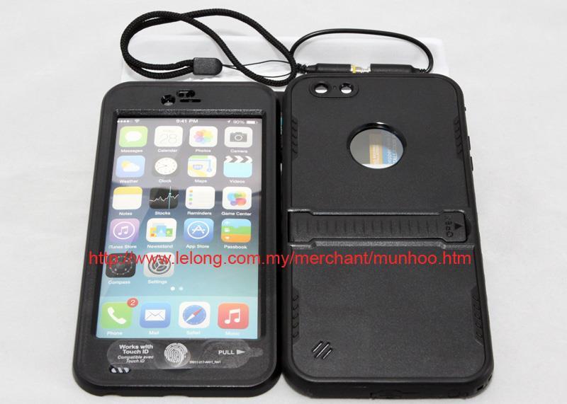 reputable site 5a498 245c1 Black Dustproof Shockproof Waterproof Swim Case Bag iPhone 6 Plus