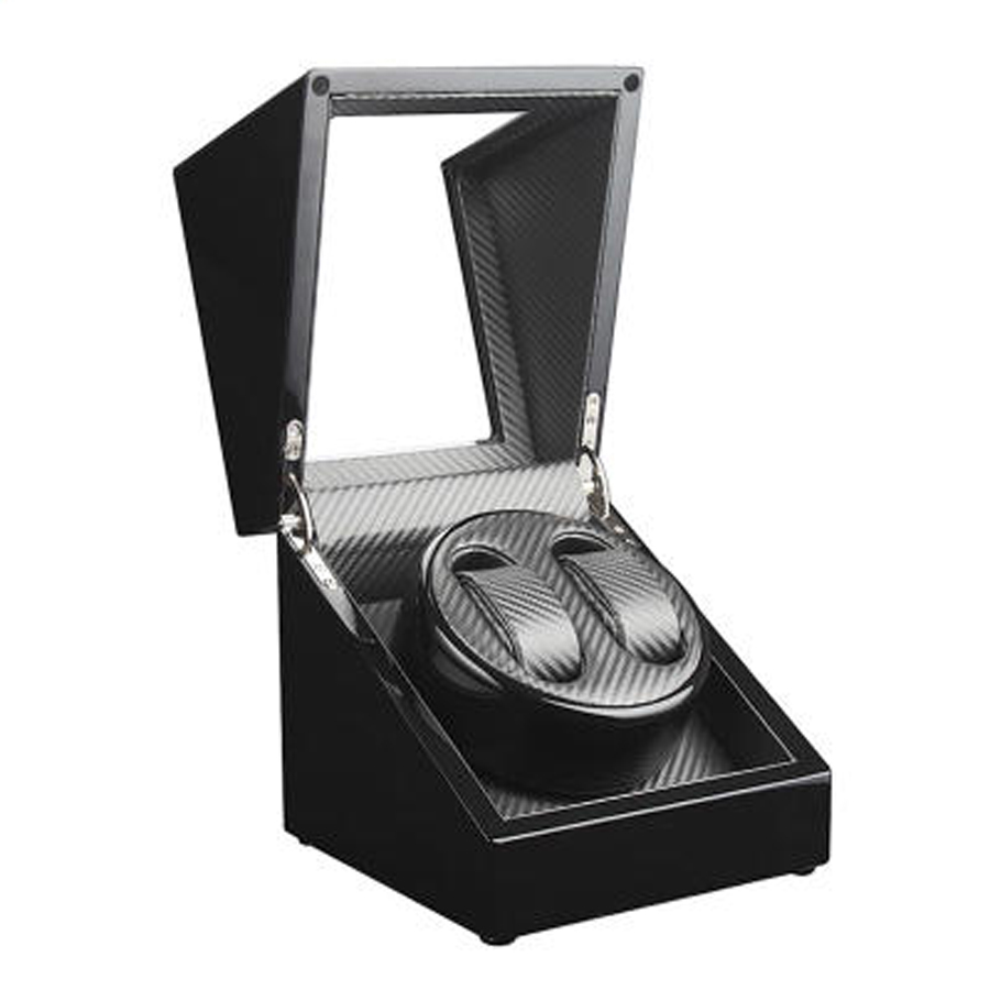 Black Grey Luxury Carbon Fiber Wooden Automatic Double Watch Winder Wa..